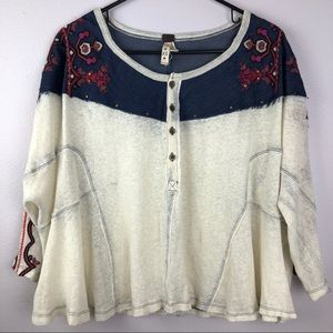We The Free People Oversized Embroidered Boho Top